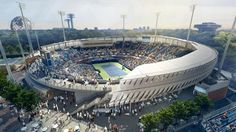 """As part of a ten-year, $550 million revamp, dubbed the """"Sports Spectacle Vision Plan,"""" of the entire 46-acre campus, the Billie Jean King National Tennis Center in Flushing Meadow Park, New York City has received a new stadium."""