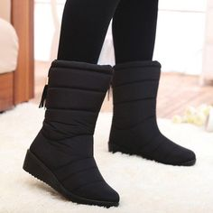 41d08d66606 Women Boots Female Tassel Winter Ankle Boots Shoes Down Wedges Snow Boots