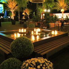 Lounge l Decoração Fernanda Rocco Eventos l Lounge rústico l Lounge com buxinho l Lounge com velas l Lounge Espelho d'água