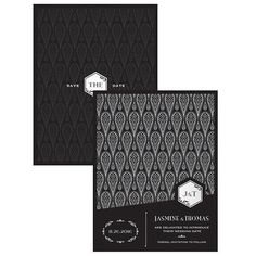 Black and Gold Opulence Save The Date Card (Pack of 1)
