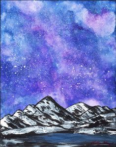 """Purple Galaxy Ice Mountain Mixed Media Painting Poster Print, Starry night galaxy watercolor painting poster print, Night sky unique men's wall art gift poster print. Title: Purple Galaxy Ice Mountain Mixed Media Painting Poster Print Medium: Watercolor on watercolor paper Size: 11"""" x 14"""" This is part of my celestial painting collection for galaxy lovers out there! I used watercolor, gouache, and acrylic paints to create this majestic and colorful galaxy painting. I painted the abstract…"""