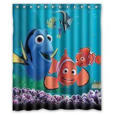 Fish Bathroom, Disney Bathroom, Childrens Bathroom, Bathroom Kids, Kids Bath, Bathroom Shower Curtains, Fabric Shower Curtains, Curtains Hooks, Finding Nemo Costume