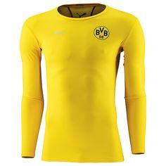 BVB Funktionsshirt langarm    Das Funktionsshirt langarm des Herstellers Puma ist das richtige Fan-Outfit für die Freizeit! Das Shirt von Borussia Dortmund erstrahlt im schönsten Gelb und hat eine auffällige Schulterpartie. Es besteht aus einem atmungsaktiven Material und kommt in der Farbe gelb. Durch das weiche Material ist es angenehm zu tragen und ideal für Sport und Freizeit geeignet. Bei ...