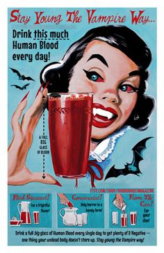 Stay Young The Vampire Way Mid Century Retro Print Dixie Dellamorto Art Vintage Witch, Vintage Halloween, Halloween Inspo, Halloween Pictures, Halloween 2019, Halloween Makeup, Retro Poster, Vintage Posters, Poster Poster