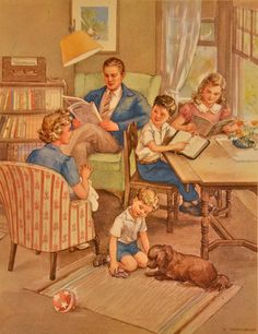 Items similar to Religious Lithograph - A Happy Home - Dorothy Handsaker on Etsy Antique Pictures, Old Pictures, Vintage Prints, Vintage Posters, Vintage Paintings, Retro Art, Retro Vintage, Norman Rockwell Art, Nostalgic Art
