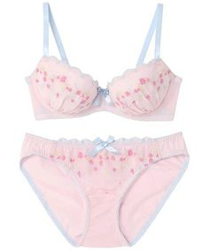 AMPHI Ladies' of (Amphitheatre) ¥ 1,995 [set] flower embroidery Bra & Panties (bra & panties) | Pink