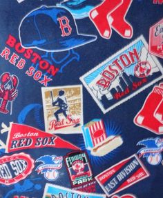 Boston Red Sox lobster rayon fabric retro look vintage material