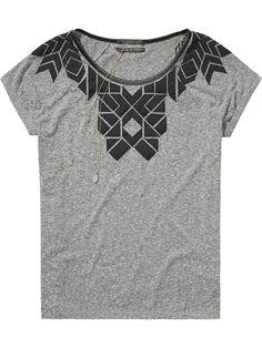 T-shirt à artwork matelassé | T-shirt m/c | Habillement Femme Scotch & Soda