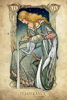 Love this Art Nouveau style image: The Mirror of Galadriel - Temperance, the Lord of the Rings tarot cards by SceithAilm