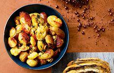 Crushed Garlic and Thyme Pan Potatoes Recipe | Recipes from Ocado Potato Crisps, Potato Salad, Potato Recipes, Dinner Deals, Pizza And More, Potato Sides, Recipe Finder, Baby Potatoes