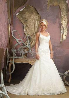 Grand Mermaid Lace Square Floor Length Court Train Bridal Dress