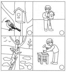 Story Sequencing Worksheets, Sequencing Pictures, Reading Worksheets, Kindergarten Worksheets, Animal Activities, Activities For Kids, Feeding Birds In Winter, Preschool Garden, Educational Crafts