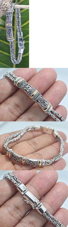 Women Jewelry: Handmade Sterling Silver.925 Bali Byzantine Borobudur Bracelet W Gold Accents 7 -> BUY IT NOW ONLY: $69.8 on eBay!