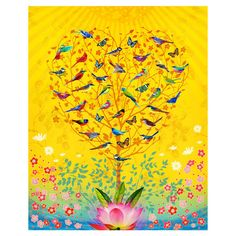 Bring organic whimsy to your decor with this art print, showcasing floral accents alongside birds perched in a heart-shaped tree.    Product: ...