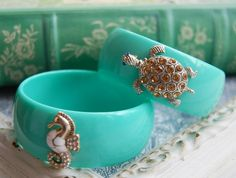Tiffany Blue Preppy Lacquered Bangle accented with a Topaz Turtle
