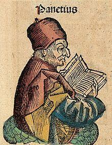 Panecio de Rodas (Lindos, 185 a. C. - Atenas, 110 a. C.) fue un filósofo griego, maestro de la escuela estoica durante su periodo medio. Junto con Posidonio de Apamea. introdujo el estoicismo entre las élites romanas.