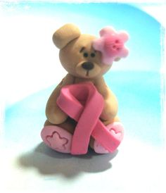 Bear with Pink Ribbon Polymer Clay Charm Bead by RainbowDayHappy