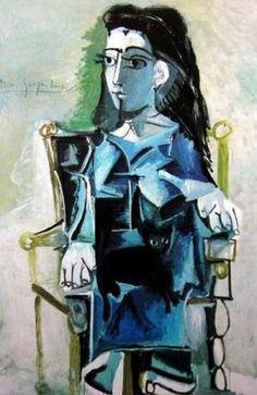 """Pablo Picasso - """"Jacqueline assise dans un fauteuil"""" (Jacqueline seated in a chair), 1964"""