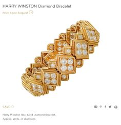 For Sale on - A vintage Harry Winston diamond bracelet in gold; designed as a series of diamond-set square-shaped links with tiered borders, enhanced by smaller Gold Bangle Bracelet, Diamond Bracelets, Gold Bangles, Link Bracelets, Jewelry Bracelets, Diamond Jewellery, Antique Bracelets, Harry Winston, Fine Jewelry