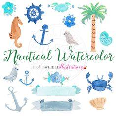 Nautical Watercolor Clipart Digital Watercolor от JWIllustrations