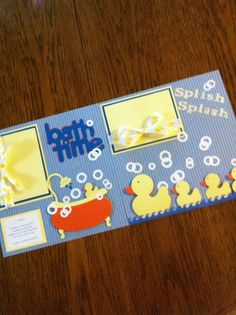 Bath Time - Pre-Made Scrapbook Pages. ia Etsy.