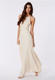 Kamilinka Side Lace Open Back Maxi Dress In Beige - Dresses - Maxi Dresses - Missguided