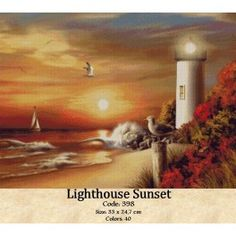 Set Goblen Apus la far Lighthouse Painting, Cross Stitch Kits, Tapestry, Sunset, Far, Drawings, Beautiful, Landscapes, Paintings