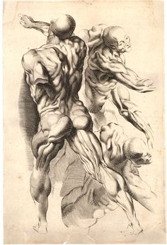 Study of three skinned men showing their musculature; unsigned; sheet 8 or 9 from a drawing book; after Peter Paul Rubens Engraving