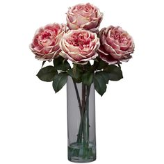 Fancy Rose with Cylinder Vase Silk Floral Arrangements in Pink