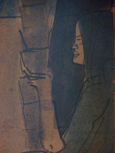 """BERNARD Emile,1895 - Femmes au Marché (Musée M.Denis) - Detail 14  -  TAGS / art painter peintre details détail détails detalles painting paintings peinture peintures """"peintures 19e"""" """"19th-century paintings"""" """"19th century"""" """"details of painting"""" """"details of paintings"""" tableaux peintures museum Fruit marché market femmes women boisson verre glass drink naïf repos rest"""