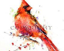 CARDENAL pájaro de la acuarela posters por Dean Crouser