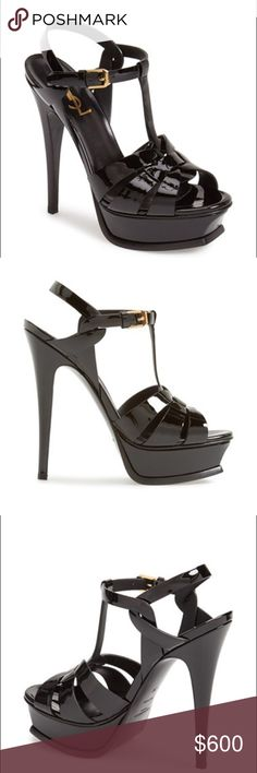 """Tribute' T-Strap Platform Sandal (Women) 5 1/4"""" (133mm) heel; 1 1/4"""" platform  105mm pitch. Leather upper, lining and sole. Adjustable strap with buckle closure. By Saint Laurent; made in Italy. Salon Shoes. Saint Laurent Shoes Heels"""