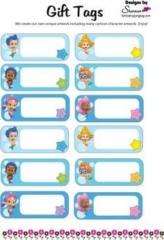 {Free} Printable Bubble Guppies Gift Tags