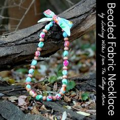 DIY Beaded Fabric Necklace. Easy Gift Idea from The Cottage Mama / The Cottage Home.