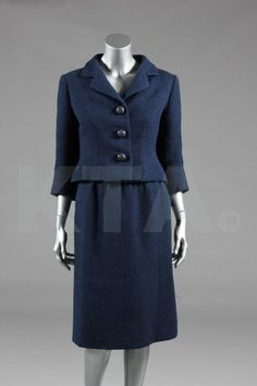 A Balenciaga couture petrol-blue tweed suit, probably Spring-Summer, 1961,