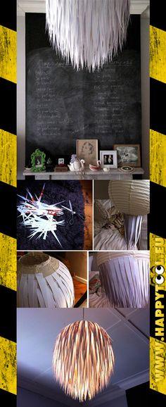 059 - Una lampada fatta di carta: Basta incollare dei triangoli di carta (bianca o colorata) su un lampadario sferico in carta di riso, partendo dal basso, per ottenere un lampadario di sicuro effetto.
