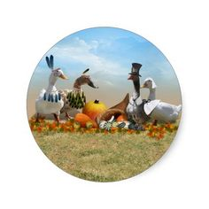 #Thanksgiving Ducks Round Stickers by #Fall_Seasons_Best
