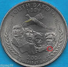 2006 P - SOUTH DAKOTA - STATE QUARTER ERROR COIN - REVERSE OBVERSE ERRORS UNCIRC