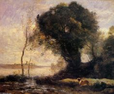 corot paintings | ... Corot >> Pond with Dog | (Oil, artwork, reproduction, copy, painting