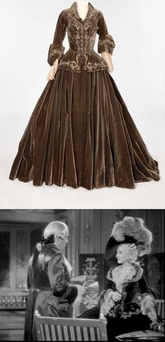 """Norma Shearer dress from the 1938 movie Marie Antoinette. Umber silk velvet two-piece period dress with silver bullion on bodice. Fur has been removed from collar and cuffs. Worn by Norma Shearer as """"Marie Antoinette"""" in the scene where Morley gets ready to make his first speech as King in Marie Antoinette. Also worn by Lucille Ball as Madame Du Barry in the tavern scene in Du Barry Was a Lady (MGM, 1943). [photo compilation LB]"""