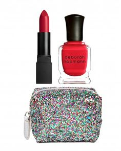 "Bridesmaids Gifts We Love: Shades of red named ""It's Raining Men"" and ""She Bangs"" complete with a glitter tote. What's not to love? Deborah Lippmann Nail and Lip Set, $28; deborahlippmann.com."