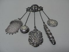 Fabulous Victorian Period Sterling Silver 5 Chain Chatelaine with Accessories | eBay
