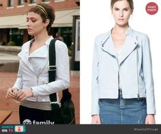 April's baby blue moto jacket on Chasing Life.  Outfit Details: http://wornontv.net/45860/ #ChasingLife