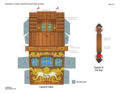 pirate ship captain's cabin and side of ship