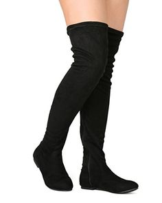 09275f569cf Women s Thigh High Flat Boots Stretchy Drawstring Tie Fashion Suede Over  the Knee Boots Black 8.5