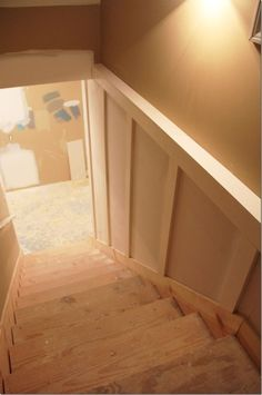 Painted basement Steps with Board and batten #Basementremodel