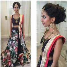 Sapi Vijay in a floral Lehenga. Reception Look. Tamil bride Indian bride Indian jewellery Navy Lehenga. Vithya hair and makeup