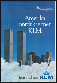 KLM Royal Dutch Airlines New York print advert Travel Ads, Airline Travel, Air Travel, Airport Architecture, Royal Dutch, Tourism Poster, Vintage Airplanes, Air France, World Trade Center