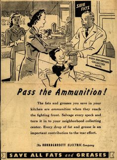 Pass the Ammunition! ~ WWII poster promoting conservation from the Narragansett Electric Co., 1943