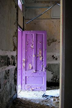 Purple door by Detroit1701, via Flickr  This bright purple door catches the sunlight in an abandoned school in Detroit.  (St. Petri Schule, Detroit)